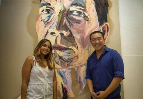 Jessica Mauboy and Anh Do in a scene from the TV series Anh's Brush With Fame.