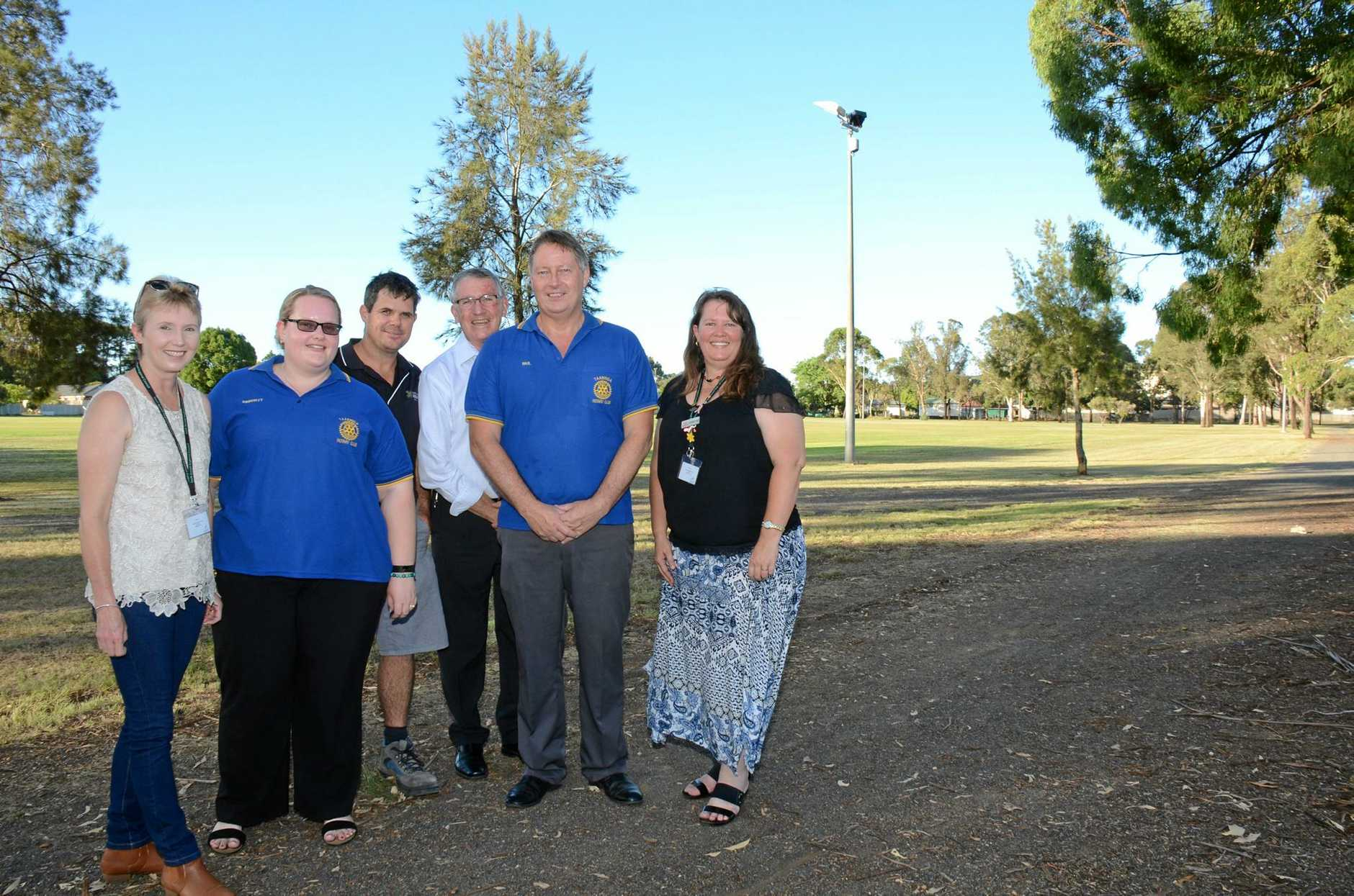 Cr Ros Frohloff, Kimberley McCullagh, Darrin Kefford, Mayor Keith Campbell, Paul Laurentiussen and Cr Danita Potter at the Kingaroy Town Common.