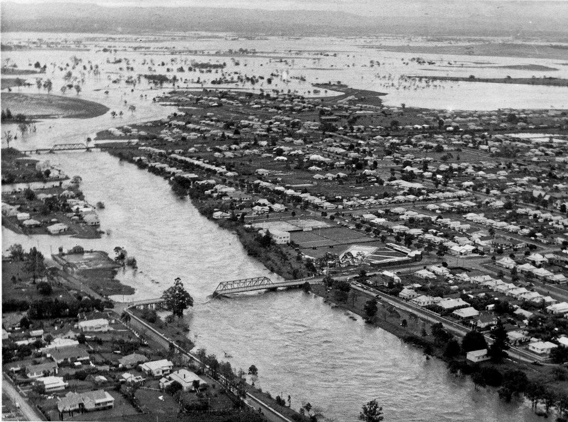 An aerial photograph of Casino during the 1954 flood. Photo Contributed