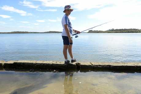 Jimmy Hancock, 13 of Stanthorpe is fishing the Clarence River at Micalo Island, Yamba on Saturday, 11th March, 2017.