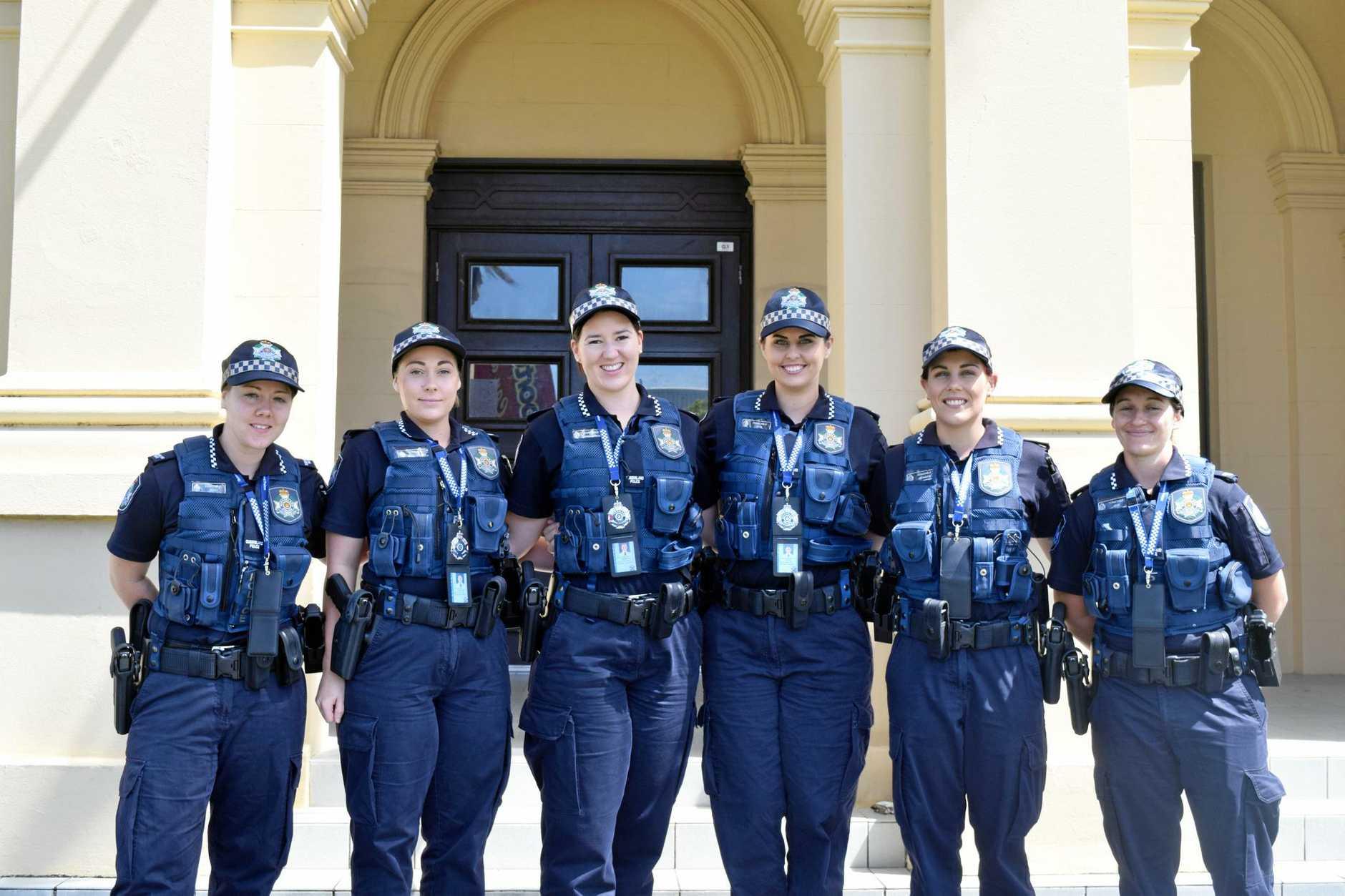 GO GIRLS: Constables Jess Neil, Holly Williams, Lauren Morgan, Adrienne Oliver, Jax Martin and Tegan Jones are Mackay's newest recruits.