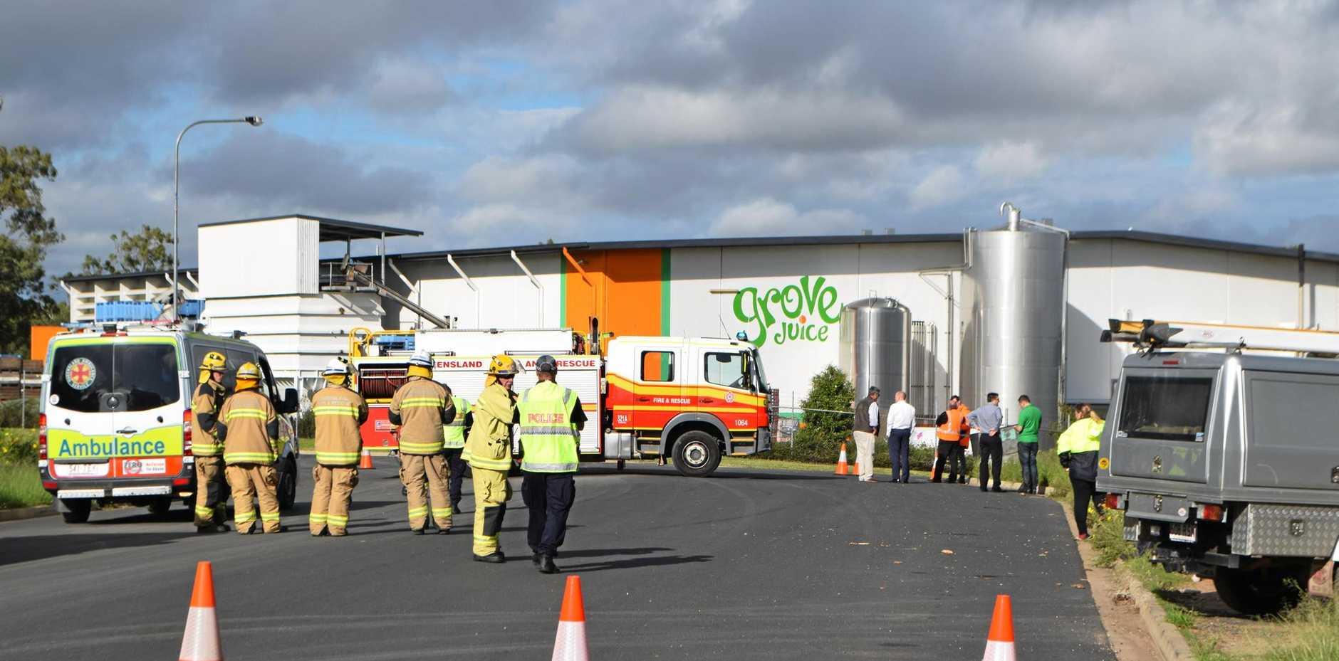 Ammonia leak at Grove forces full evacuation this morning.