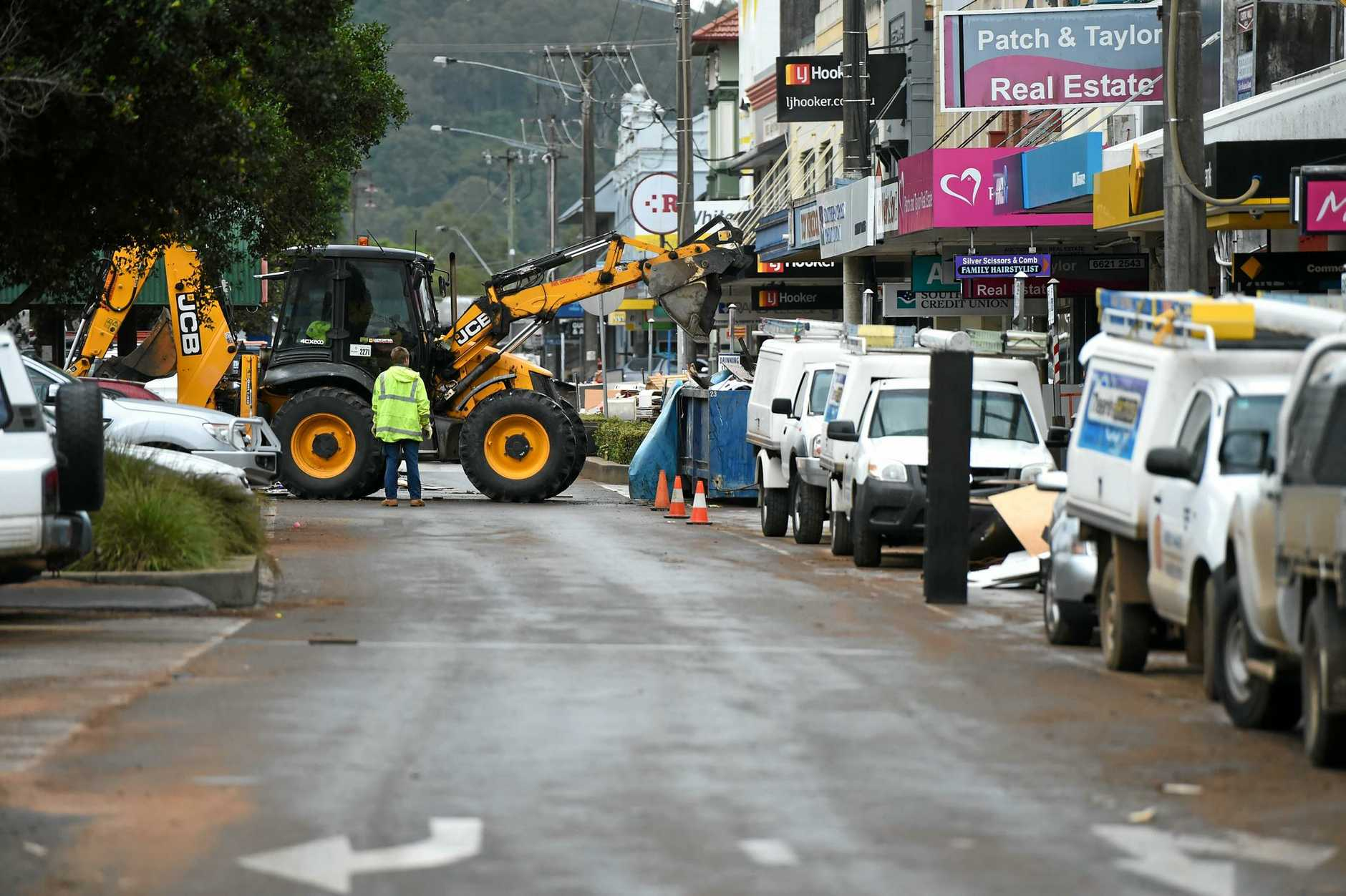 Lismore gets started on the cleanup in town after the floods.
