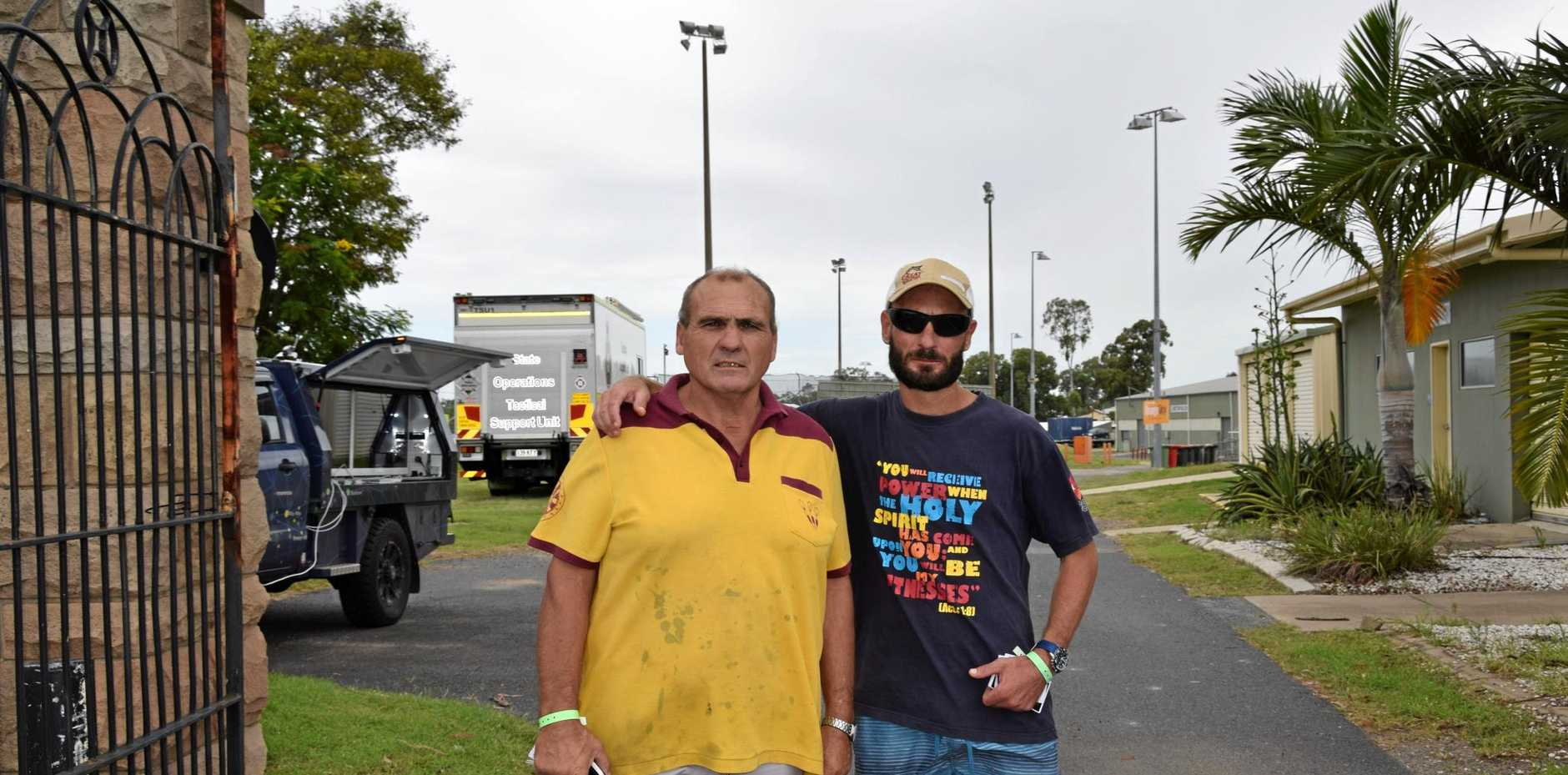 Evacuation centre residents and Depot Hill flood victims John Peacock and George Swadling.
