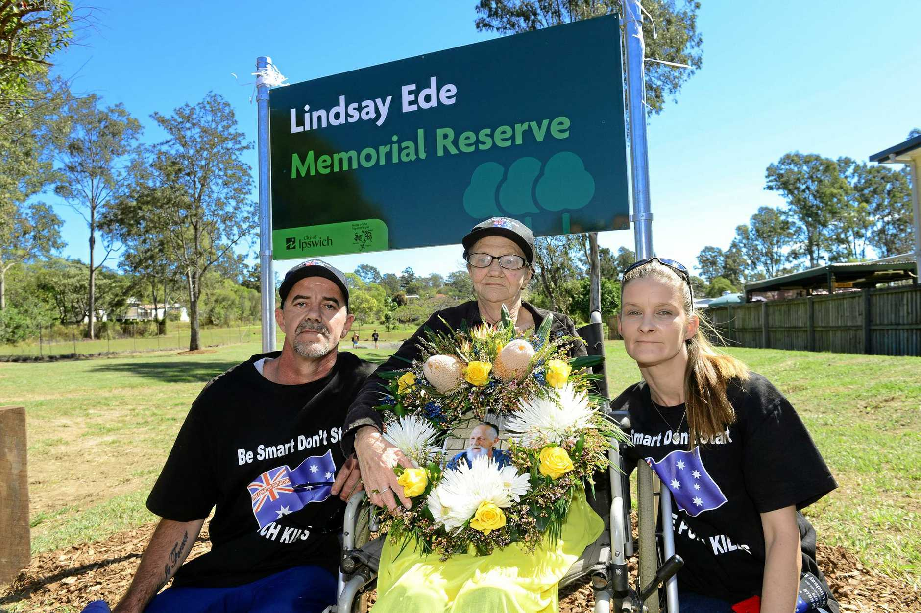 NOT OVER: Terry Bishop, pictured with his mother Lynnette Appleton-Rodgers and wife Linda, says the family will keep campaigning for the One Punch Kills cause. (INSET) Lindsay Ede.