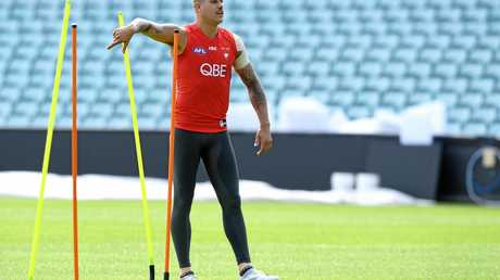 Sydney Swans AFL player Lance Franklin takes part in a training session.