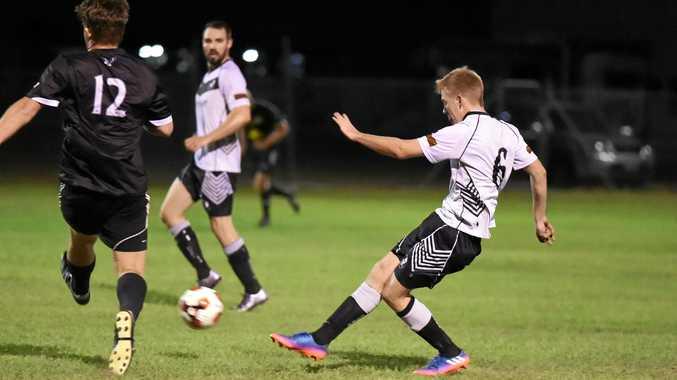 Doon Villa's Josh Barsby. FFA Cup: Doon Villa v United Park Eagles (UPE) at Villa Park, Maryborough.