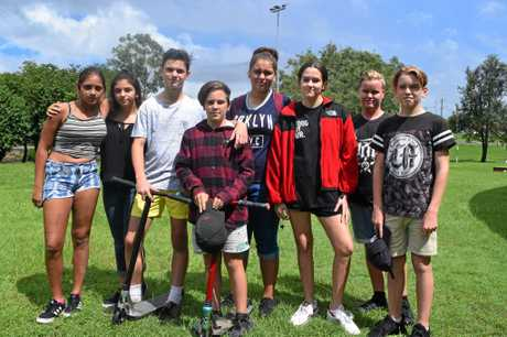 Tarla Edwards, Hannah Gallaher, Jack Mill, Aidan Wright, Tyrah Thompson, Olivia Jeffs, Luke Freidman and Will Taske gathered in Nelson Reserve to farewell Jay Jay Heidemann and his family.