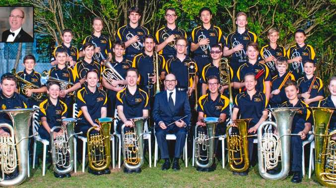 TROMBONE CHAMPION: Brady Foxley-Connolly from Nambour Christian College (middle row, fourth from right, pictured with the Brass Band) is defending his title.