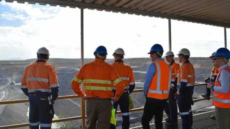Minister for Natural Resources and Mines, Anthony Lynham looks over the Coppabella mine.