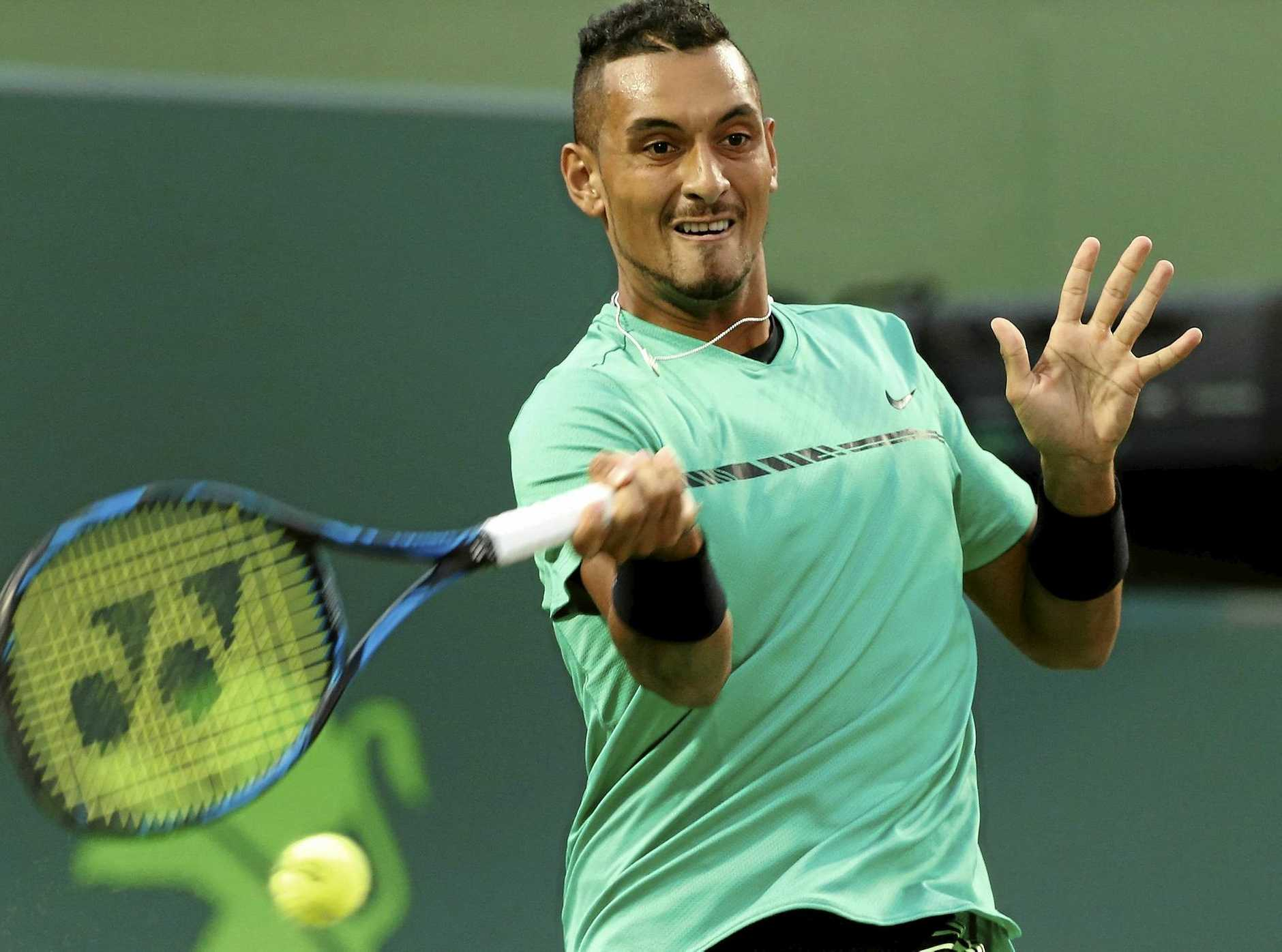 Nick Kyrgios of Australia in action against Alexander Zverev of Germany at the Miami Open.