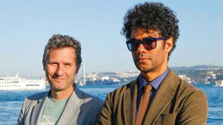 Adam Hill and Richard Ayoade in a scene from the TV series Travel Man.