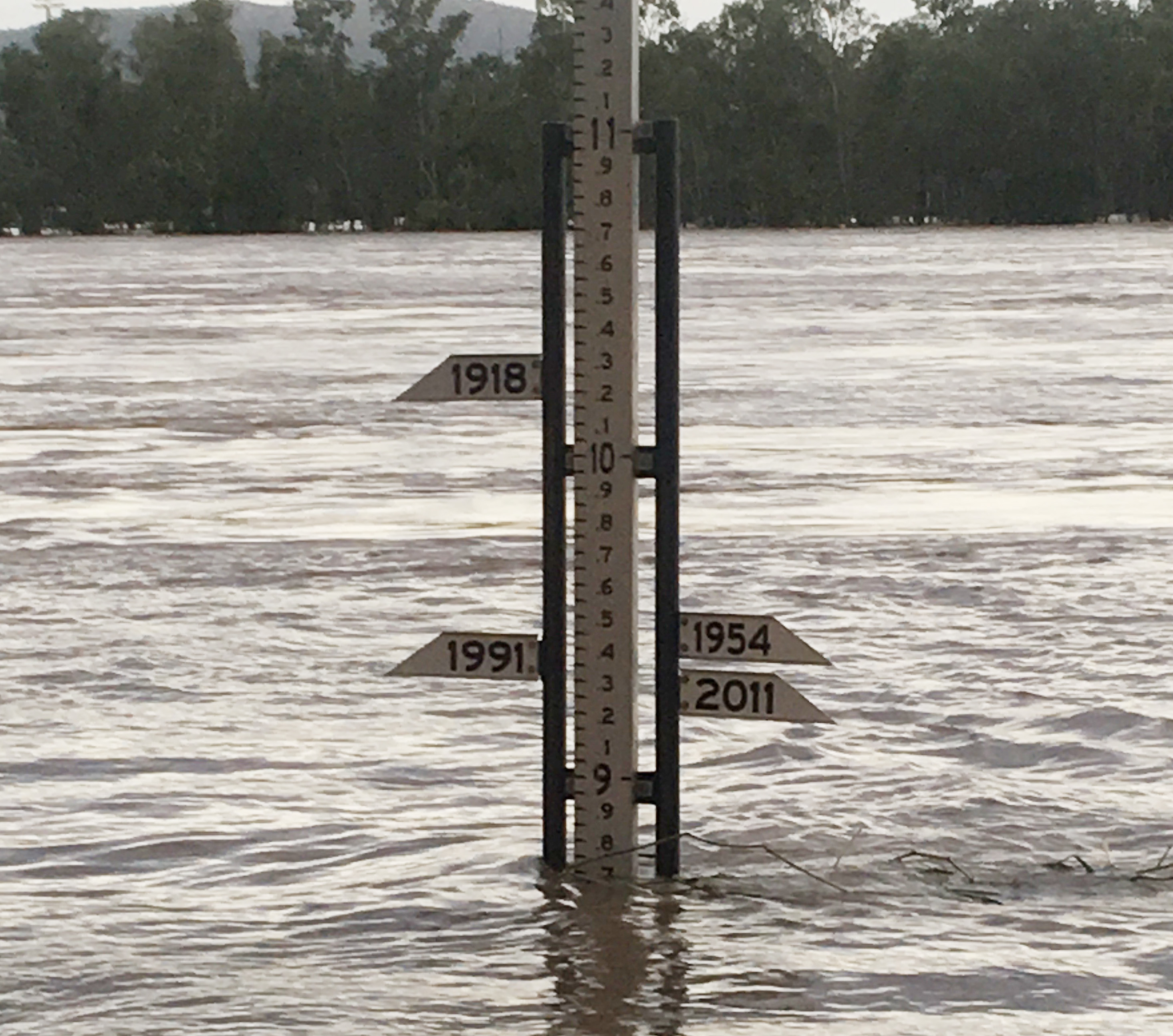 Flood marker at 8.7m in Rockhampton on Thursday morning.