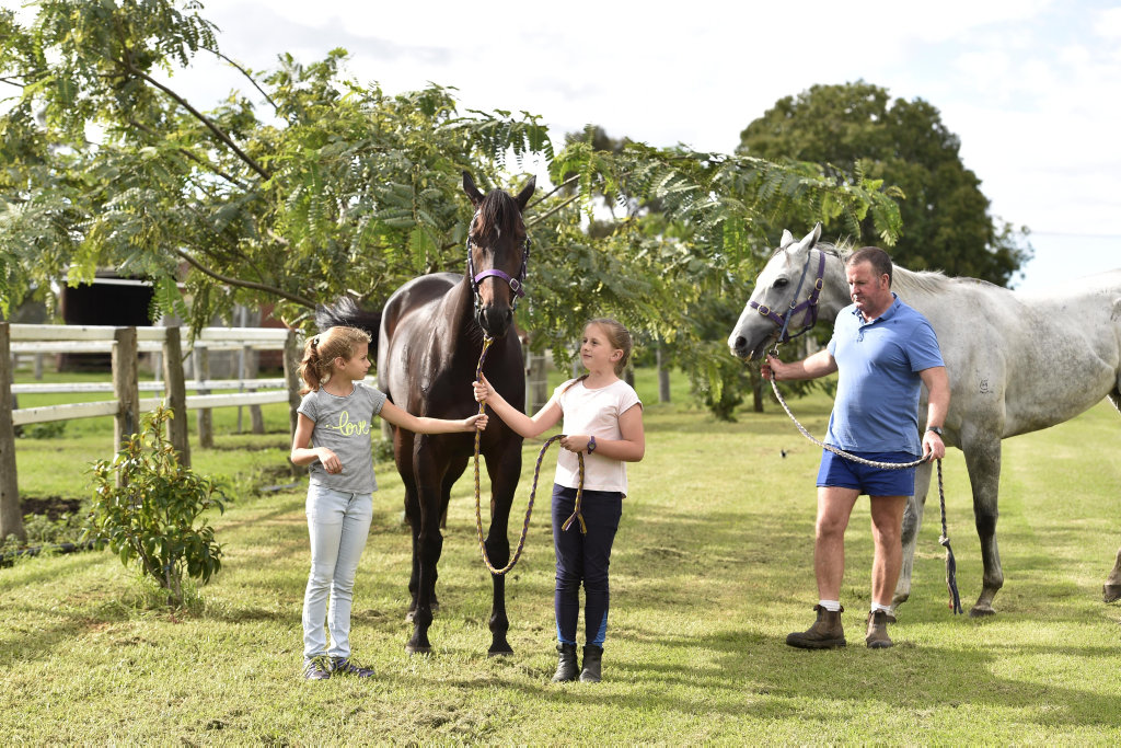 Paige McKellar (left) and Mia Nolan with Jumbo Prince and Michael Nolan with Upstart Pride from Michael Nolan's stables will be in Weetwood . April 2017