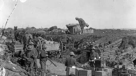 Members of the 2nd Division at a dump of frontline supplies near Iggery Corner, during the fight for Bullecourt.
