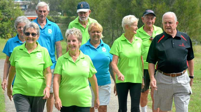 Currumbin RSL president Ron Workman welcomes the 60 & Better Walking Group to the Mateship Run on April 30.