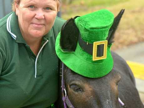 HEALING ANIMALS: Harmony Hooves Healing Hearts assistant Donna Watts with Murphy the mule on St Patrick's Day.
