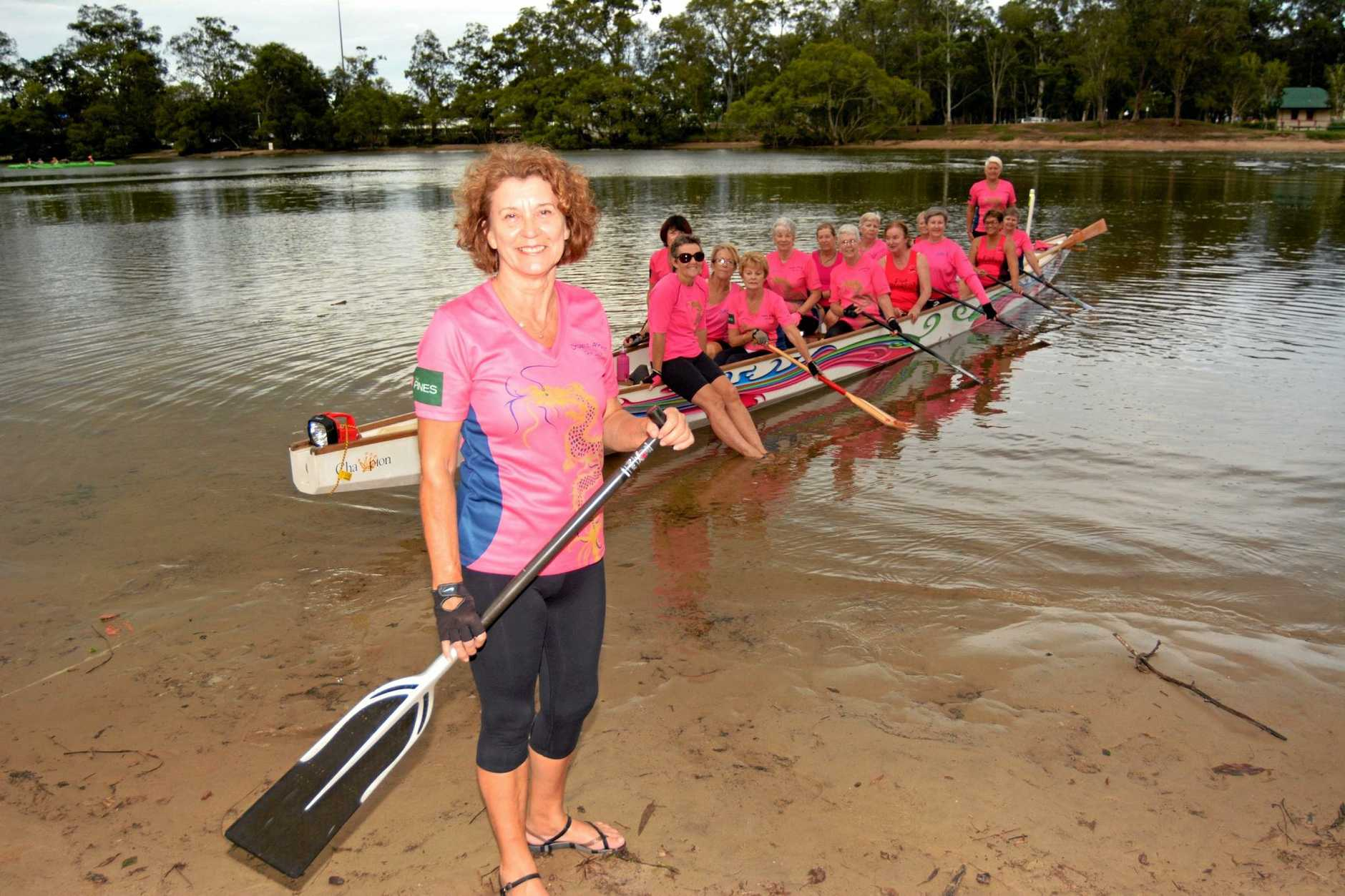 DRAGONS ABREAST:  Lorelle Eltherington and the Dragons Abreast Gold Coast team in training on Currumbin Creek.