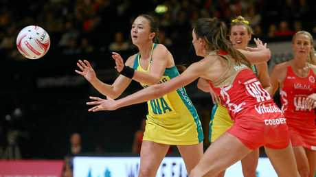 Nevins in action  during the Quad Series netball match between the England Roses and the Australia Diamonds in February