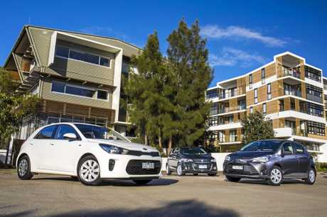 City cars put to the test, Holden Barina, Toyota Yaris and Kia Rio.