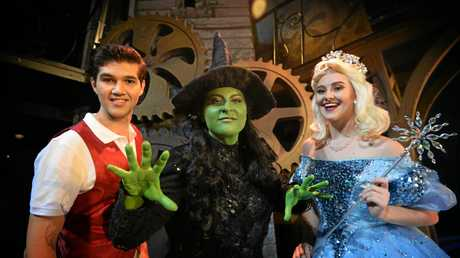 Wicked cast members Angelo Conway as Fiyero,Amanda Hock as Elphaba and Emma McGuire as Galinda.