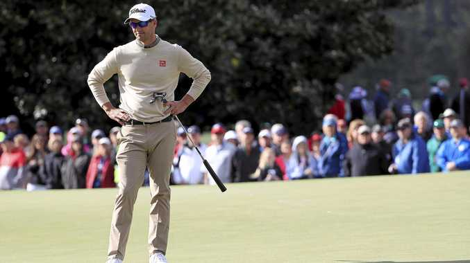 FRUSTRATION: Windy conditions hampered Adam Scott's first round at the Masters