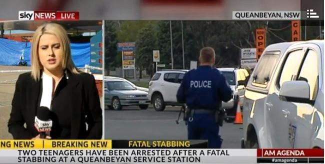 Two teenagers have been arrested over the stabbing death of a service station attendant.