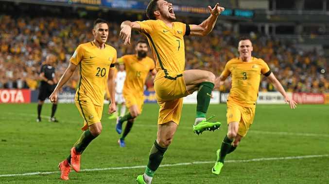 Australia's Mathew Leckie celebrates his goal against the United Arab Emirates.