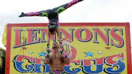 Lennon Bros Circus father and daughter hand to and act Amina and Mohammed Jratlou.Photo Cathy Adams / The Northern Star