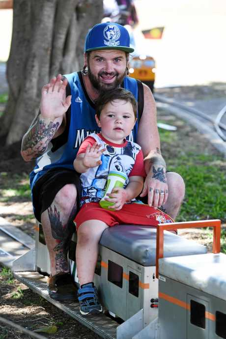 MELSA Maryborough's Sunday in the Park, Queens Park - Josh Hamer and Ezekiel Mulherin enjoy a love of trains and do not miss the chance for a ride.
