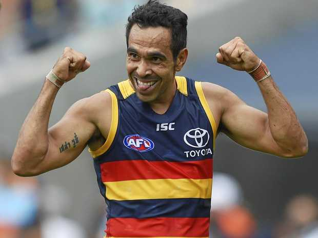 Eddie Betts of the Crows celebrates a goal.