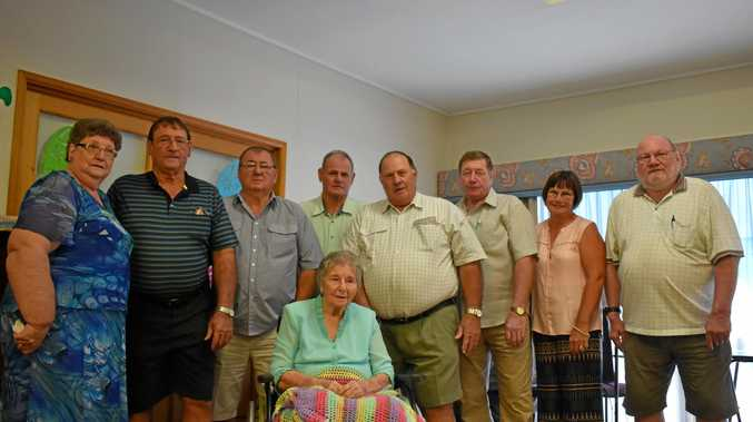 FAMILY: Joyce Fox, Jack Horne, Alan Horne, Graeme Horne, Ray Horne, Merv Horne, Aileen Buckley and Desmond Horne at their mother Myrtle Horne's 100th birthday.