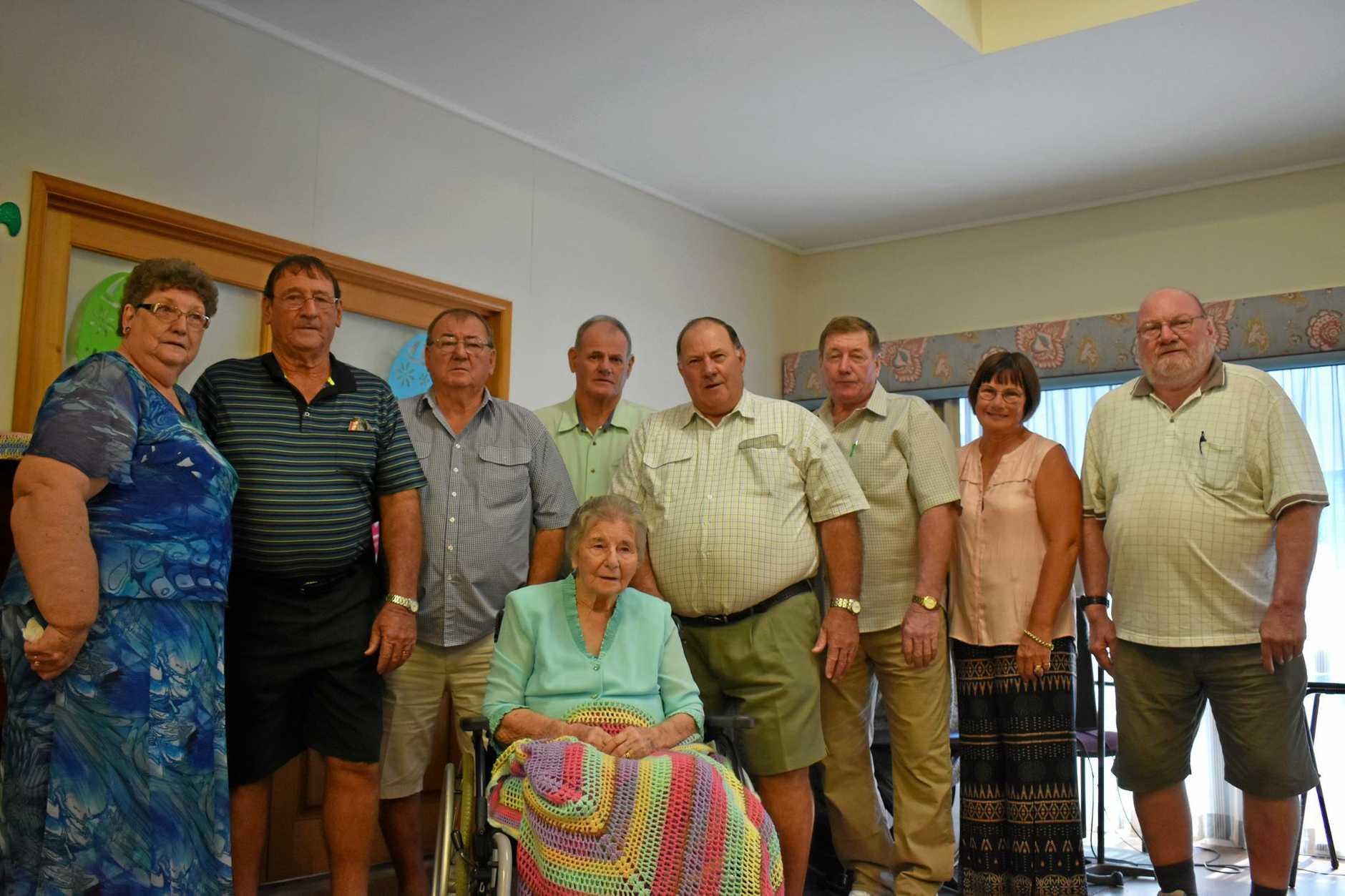 FAMILY: Joyce Fox, Jack Horne, Alan Horne, Graeme Horne, Ray Horne, Merv Horne, Aileen Buckley and Desmond Horne at their mother Myrtle Horne's 100th birthday.