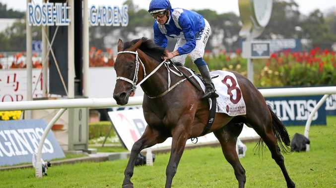 Winx, ridden by Hugh Bowman, wins the China Horse Club George Ryder Stakes during Golden Slipper Day at Rosehill in March.