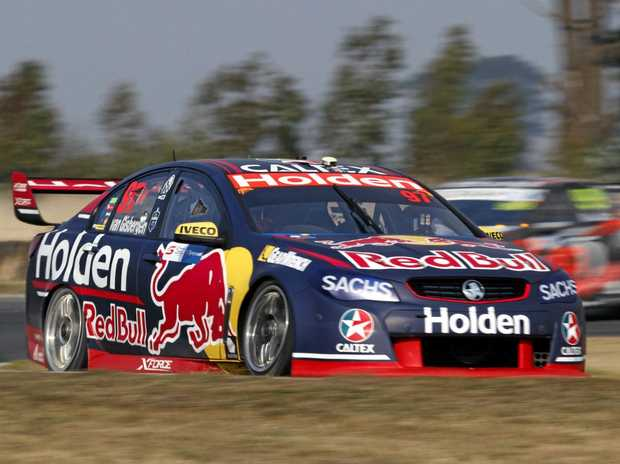 QUICK: Shane van Gisbergen's Red Bull Holden in practice for the weekend's Tasmania SuperSprint at .