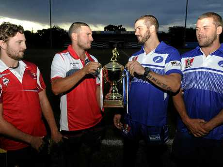 BROTHERS AT ARMS: South Grafton Rebels brothers Kieren and Cameron Stewart grapple for the Viv Hodge Memorial Trophy against GRafton Ghosts brothers Brett and Danny Wicks.
