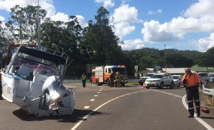 A boat was dislodged from its trailer after a crash on the Sunshine Coast.
