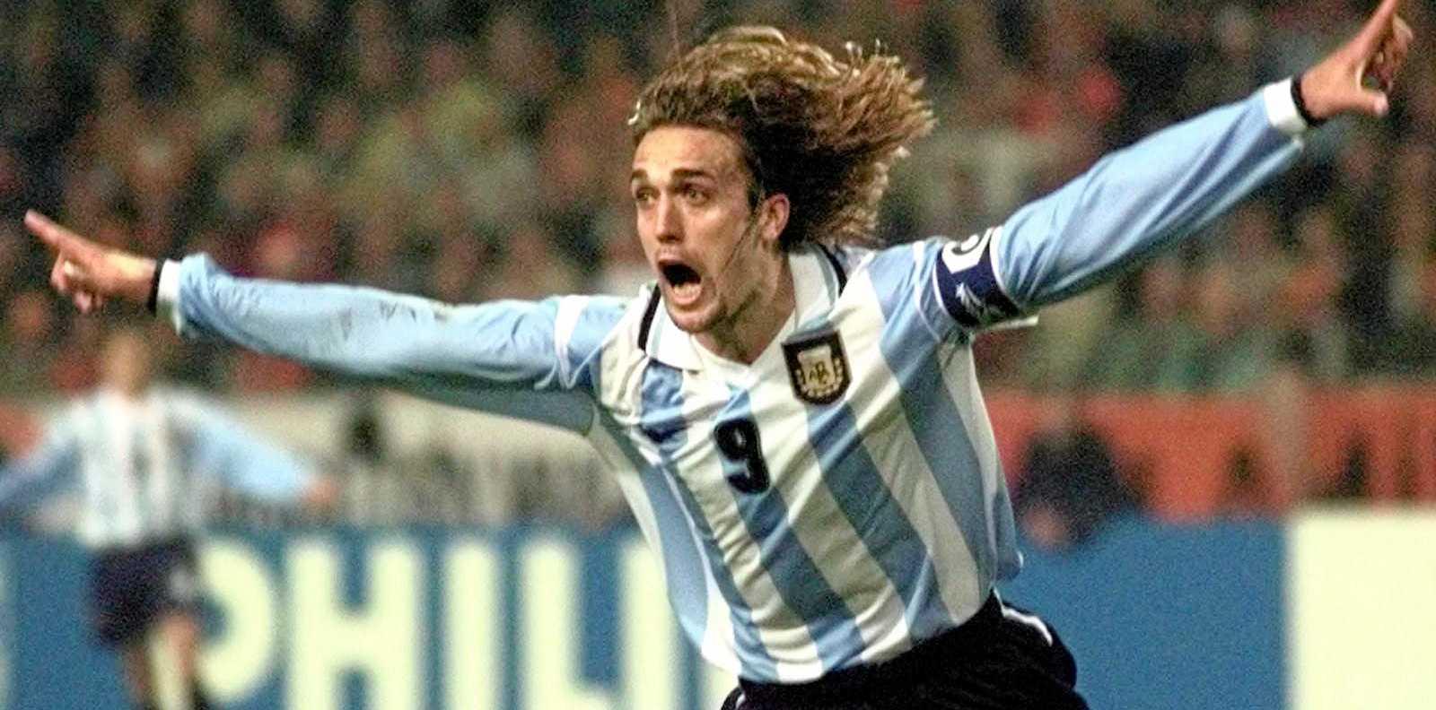 Gabriel Batistuta celebrates after scoring for Argentina in 1999.