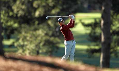 Thomas Pieters of Belgium hits from the fairway on the 17th at Augusta.