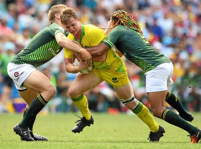 Henry Hutchison of Australia playing against South Africa at the Sydney Sevens in February.
