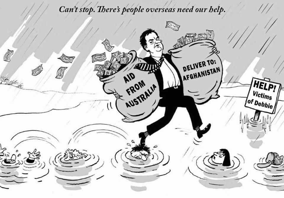 Dawson MP George Christensen, who wants to see foreign aid halted in the wake of Cyclone Debbie, shared this cartoon on his Facebook page