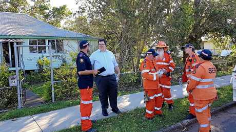Federal Member for Dawson George Christensen with some SES workers in the Whitsundays after Cyclone Debbie.