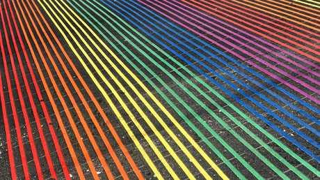 The Rainbow crosswalk at The Castro, San Francisco.