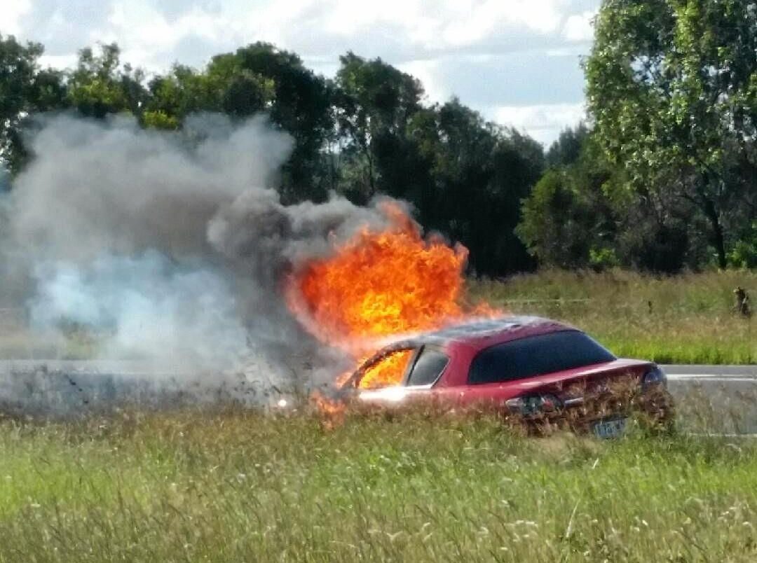 CAR ON FIRE: A car caught fire at 3:15 this afternoon on the Warrego Highway, just east of Jondaryan.