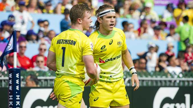 Henry Hutchison and Tom Lucas of Australia at the Hong Kong Sevens.