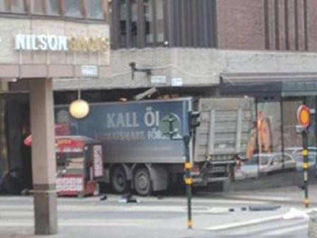 A beer truck has crashed into a department store in Stockholm, Sweden.