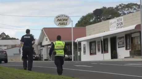Police forensic team investigate the Drayton crash on Sunday.