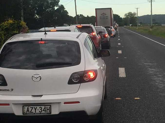 DELAYS: Traffic was backed up about 4km due to a four-vehicle crash at Tyndale.
