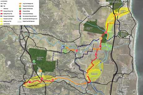 The draft plan for the Nambour to Coolum trail shows the rout from hinterland to coast.
