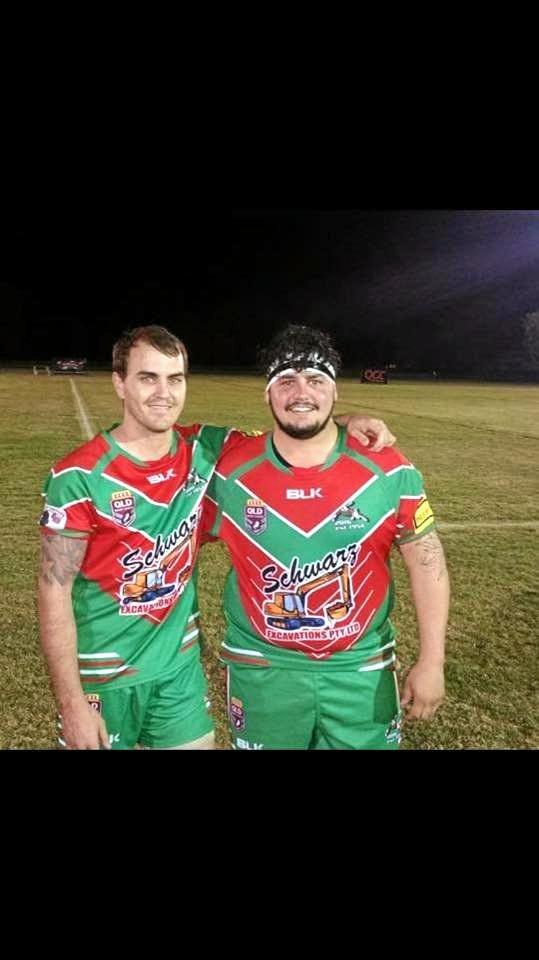 Bluff Rabbitohs Mitch Power and Joel Munns.